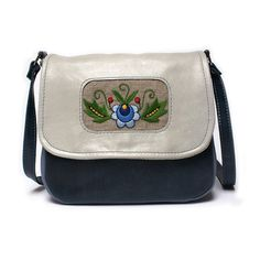 Mini messenger bag messenger purse leather with hand embroidery