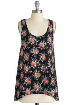 ModCloth Long Sleeveless Cover-up Custard Stand in Awe Top in Black Floral