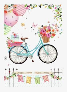 Happy Days by Lynn Horrabin birthday, transportation, bike, bicycle Birthday Greetings, Birthday Wishes, Birthday Cards, Illustration Blume, Buch Design, Bicycle Art, Decoupage Paper, Balloons, Shabby Chic