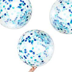 3 ballons géants confettis bleus