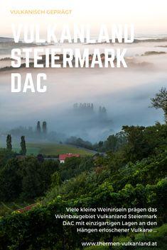 Überreste erloschener Vulkane und einzigartige Lagen an den Hängen prägen nicht nur die Landschaft des Weinbaugebiets #Vulkanland Steiermark #DAC im Südosten Österreichs, sondern auch den #Wein. Desktop Screenshot, Volcanoes, Island, Wine, Drinking, Landscape, Vacation