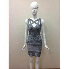 Herve Leger Grey Printed Flared Bandage Dress H354LGP