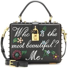 Dolce & Gabbana Dolce Box Embellished Leather Shoulder Bag ($4,410) ❤ liked on Polyvore featuring bags, handbags, shoulder bags, black, clutches, shoulder bag handbag, embellished purses, genuine leather purse, leather purses and genuine leather handbags