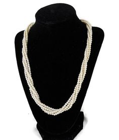 e7db6d0a076865 Items similar to Vintage Torsade Faux Pearl White Multi Strand Silver  Necklace Wedding on Etsy