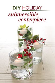 DIY Submersible Holiday Berry Centerpiece, Perfect for Winter Wedding Centerpieces. Winter Wedding Centerpieces, Diy Centerpieces, Diy Wedding Decorations, Christmas Decorations, Centrepieces, Christmas Berries, Christmas Diy, Christmas Foods, Christmas Wedding