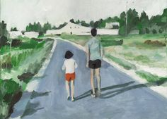Nature Trail - original acrylic painting- boy and girl- landscape - blue red yellow green pink orange Colors/Home Decor