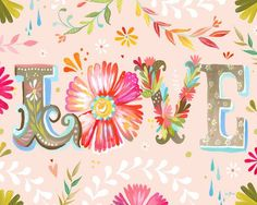 Floral Love by Katie Daisy Painting Print on Wrapped Canvas