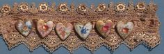 Neo Victorian Hand Painted Ceramic Heart Brooches 6 on Gold Venice Lace Cuff Bracelet Only $49.00 by emenow,