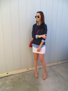 White pencil skirt, blue oxford, navy sweater.