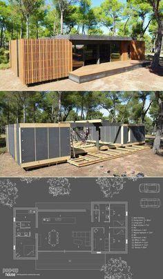 Vivienda prefabricada con tres habitaciones