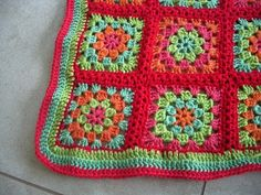 Granny square blanket - love the colours