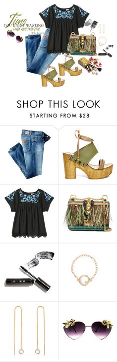 """Dressing in Denim"" by juliehooper ❤ liked on Polyvore featuring Just Cavalli, Steve Madden, Rebecca Taylor, Valentino, Bobbi Brown Cosmetics, Guerlain and denim"