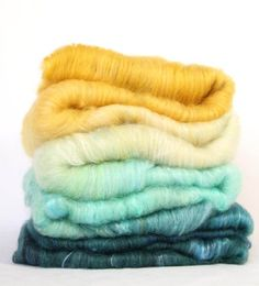 "fiber art batt, felting wool, spinning fiber, Roving, ""Delphinium"" honey yellow, aqua, white, sand, turquoise, green and blue, silk by VLNAart on Etsy"