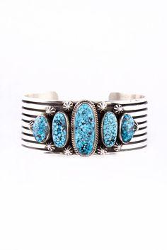 Kingman Turquoise Cuff Bracelet by Navajo Artist Albert Jake | Silver Eagle Gallery