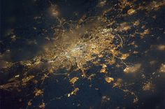 London at night as seen from the International Space Station