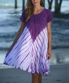 Look what I found on #zulily! Purple Tie-Dye Scoop Neck Dress #zulilyfinds