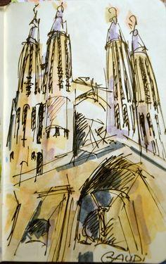 Great Sketch - Sagrada Familia Illustration Sketches, Urban Sketching, Arts Barcelona, Urban Art, Sketch Painting, Ks3 Art, Sagrada Familia, Art Sketches, Travel Sketches