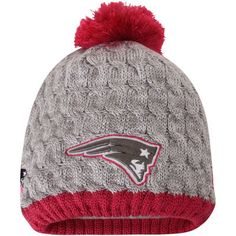 8b9dcdb96ce Women s New England Patriots New Era Gray Pink Breast Cancer Awareness Knit  Beanie