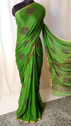 Kanjivaram Sarees Silk, Pure Georgette Sarees, Kalamkari Saree, Chiffon Saree, Cotton Saree, Silk Saree Blouse Designs, Fancy Blouse Designs, Colour Combination For Dress, Plain Saree With Heavy Blouse