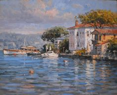 BÜLENT KILIÇ Istanbul, Building Painting, Illustrations, Gravure, Fine Art, Landscape Photos, Contemporary Paintings, Painting Inspiration, Photo Art