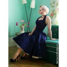 Vivien of Holloway 50's Navy Sateen Cirkle Dress - Swing Dress - Jurkjes