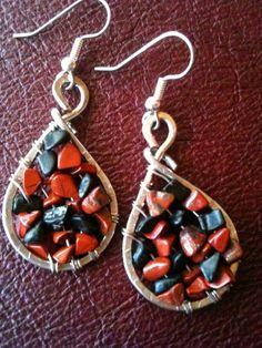 Red Jasper and Blackstone  genuine gemstones silver wire  earrings by BLLstudio.