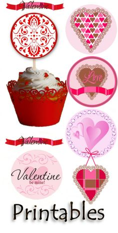Valentine's Day Love and Hearts Decorative Cupcake Printable Toppers. Valentine Theme, My Funny Valentine, Vintage Valentine Cards, Valentine Day Love, Valentines Day Party, Valentine Decorations, Valentine Day Crafts, Printable Valentine, Cupcake Toppers