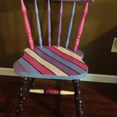 Hand painted chair for a little girl's room! Used glossy modge podge spray to set.