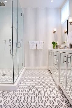 Can't go past a patterned floor in a bathroom  the mirrored cabinetry make the bathroom feel so much bigger #Deluxe