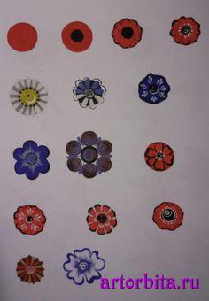 Рисунок. Разновидности цветов - городецкая роспись