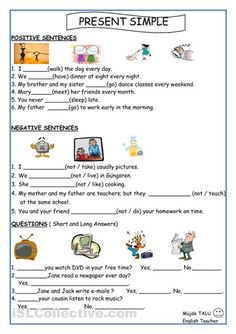 Simple Present Tense - English ESL Worksheets for distance learning and physical classrooms English Worksheets For Kids, English Lessons For Kids, Kids English, English Class, Teaching English, Learn English, Kids Worksheets, Printable Worksheets, Probability Worksheets