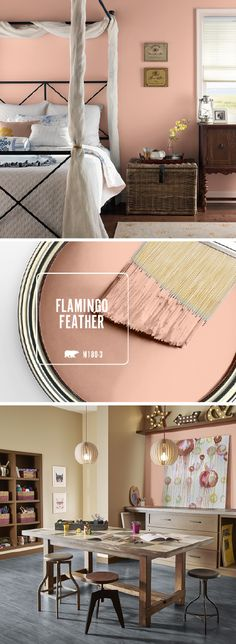 Bring out your inner girly girl with a little help from BEHR's new Color of the Month: Flamingo Feather. This warm blush hue would add a glamorous style to any room in your home. Try pairing this modern paint color with gold, white, and warm wood accents Modern Paint Colors, Paint Colours, Wall Colours, Copper Paint Colors, Office Wall Colors, Accent Colors, Bright Colors, Trendy Bedroom, Bedroom Modern
