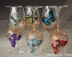 Wine Glasses Hand Painted Buterfly Design, SET of 6
