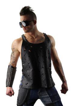c3500cc03c07bc Leather Harness Tank Top. Menswear Online Shopping Leather Harness Tank Top  Fashion Different