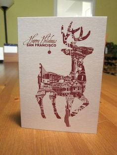 San Francisco Holiday Christmas Deer Xmas Tourist Vacation - Single Card & Envelope