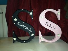 Beautiful handpainted freestanding wooden letters. Available in a wide range of colours and sizes.Plaque colour is the main colourdesign colour is the colour for the personalised textPlease add a note to the personalise box with the name required for the letter and if no namne is required please leave blank