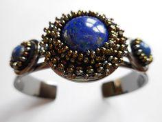 Lapis Lazuli Beaded Gemstone Cuff
