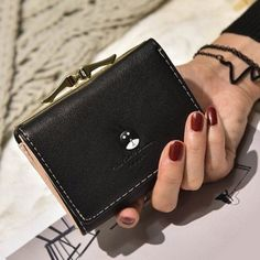 Just look, that`s outstanding! Black Wallet, Small Wallet, Hanging Cosmetic Bag, Wallet Sale, Buy Bags, Amazing Shopping, Coin Bag, Metal Trim, Initial Pendant
