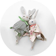 Polka Dot Club — PDC Cuddling Rabbit :: linen