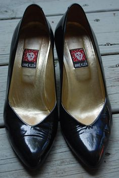 Vintage Anne Klein Black Patent Leather 80s Pumps Heels Shoes Size 8 by MaidenhairVintage, $36.00