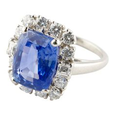 Oscar Heyman Sapphire Diamond Platinum Ring | From a unique collection of vintage fashion rings at http://www.1stdibs.com/jewelry/rings/fashion-rings/