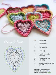 Heart Crochet Patterns Archives - Beautiful Crochet Patterns and Knitting Patterns Beau Crochet, Crochet Diy, Crochet Motifs, Crochet Diagram, Crochet Chart, Crochet Squares, Love Crochet, Beautiful Crochet, Crochet Flowers