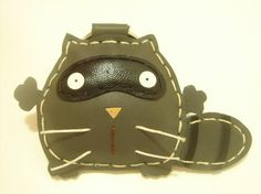 Ronnie the Raccoon Leather Keychain  Gray  by leatherprince, $20.90