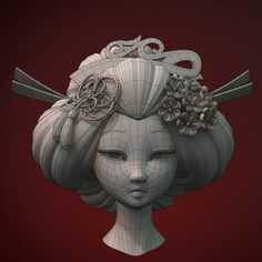 Geisha Head Model available on Turbo Squid, the world's leading provider of digital models for visualization, films, television, and games. 3d Model Character, Game Character Design, Character Design Animation, Maya Character Modeling, 3d Max Tutorial, 3d Modellierung, Maya Modeling, Zbrush Models, Mode 3d