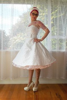 """""""Annette"""" Polka Dot Wedding Dress with Sweetheart Neckline, Tea Length Skirt and Petticoat - Custom made to suitThis gown is constructed from Taffeta and has a Polka dot tulle ov Polka Dot Wedding Dress, Wedding Dress Organza, Tea Length Wedding Dress, Modest Wedding Dresses, Wedding Gowns, Hair Wedding, Tea Length Skirt, Tea Length Dresses, Pin Up"""