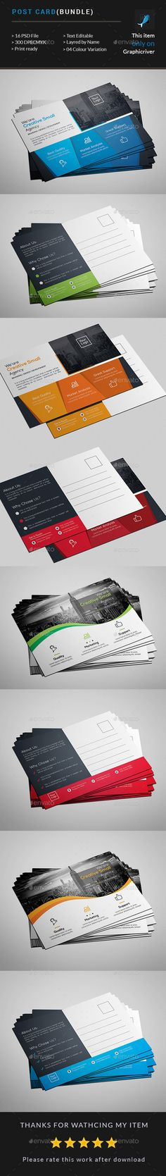 Post card Bundle(2 In 1) - #Cards & #Invites Print #Templates Download here: https://graphicriver.net/item/post-card-bundle2-in-1/19587268?ref=alena994