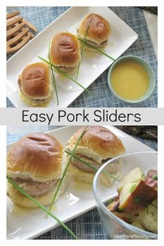 Delicious recipe for easy pork sliders. This is the perfect meal to serve for just your family or a large gathering. It is a simple budget friendly recipe that the entire family will love. Slider Recipes, Pork Recipes, Crockpot Recipes, Healthy Recipes, Big Meals, Easy Meals, Best Coleslaw Recipe, Roasted Potato Salads, Pork Sliders