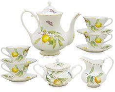 Gracie China Lemon 11-Piece Porcelain Tea Set, 4-Cup Teapot Sugar Creamer and Four 6-Ounce Cups and Saucers