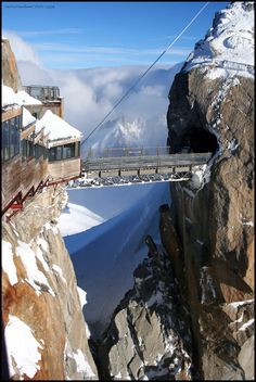 du Midiin Chamonix, France, the highest point in Europe…From the centre of Chamonix, a 20 minutes ride in the Aiguille du Midi cable car takes you to the gateway to the high Alps at a height of 3,842 m.  From its height of 3,777m, the Aiguille du Midi and its laid-out terraces offer a 360° view of all the French, Swiss and Italian Alps. A lift brings you to the summit terrace at 3,842m, where you will have a clear view of Mont Blanc.