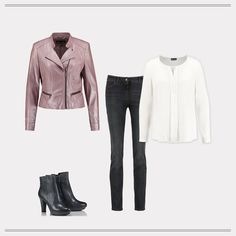 Casual Chic: the rosé colored blazer in the biker style convinced to jeans and ankle boots!